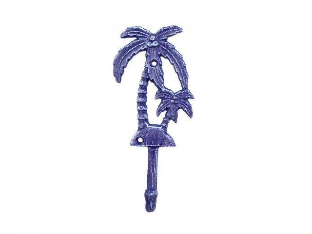 Rustic Dark Blue Cast Iron Palm Tree Hook 7