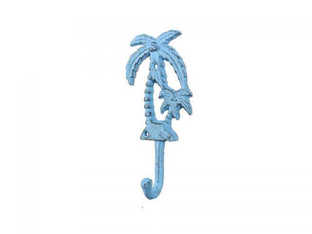 Rustic Light Blue Cast Iron Palm Tree Hook 7