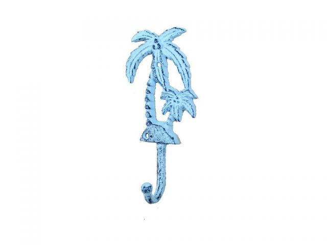 Rustic Dark Blue Whitewashed Cast Iron Palm Tree Hook 7