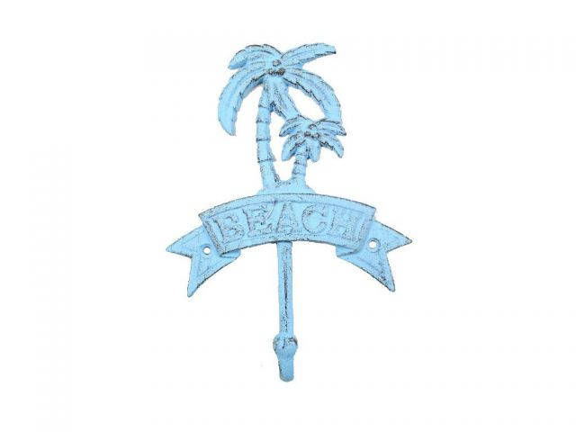 Rustic Light Blue Whitewashed Cast Iron Palm Tree Beach Hook 8