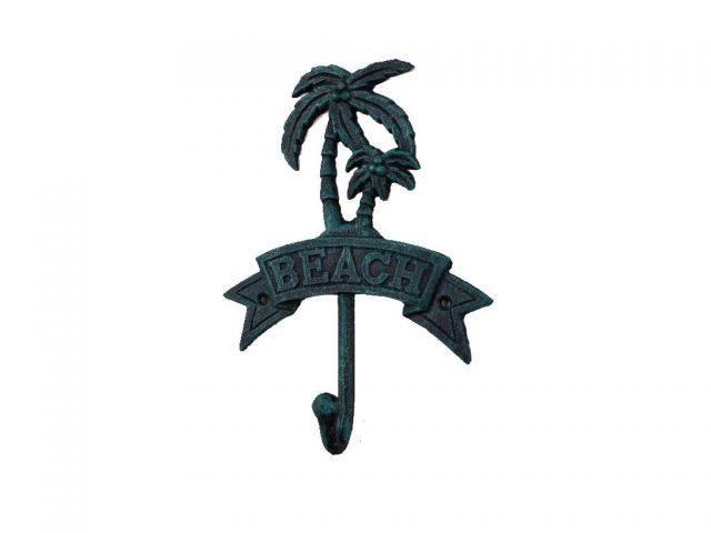 Seaworn Blue Cast Iron Palm Tree Beach Hook 8