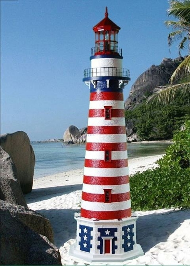 Patriot Stucco Electric Lawn Lighthouse 96
