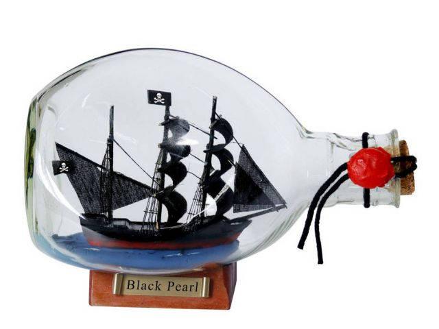 Black Pearl Pirate Ship in a Glass Bottle 7