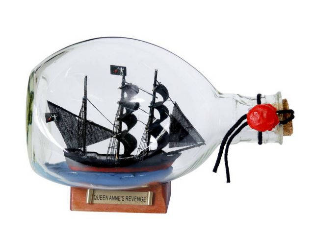 Wooden Blackbeards Queen Annes Revenge Pirate Ship in a Glass Bottle 7