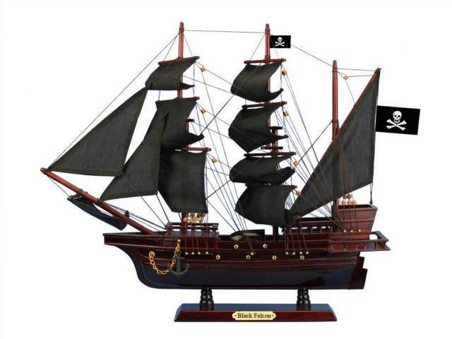 Wooden Captain Kidds Black Falcon Black Sails Pirate Ship Model 20