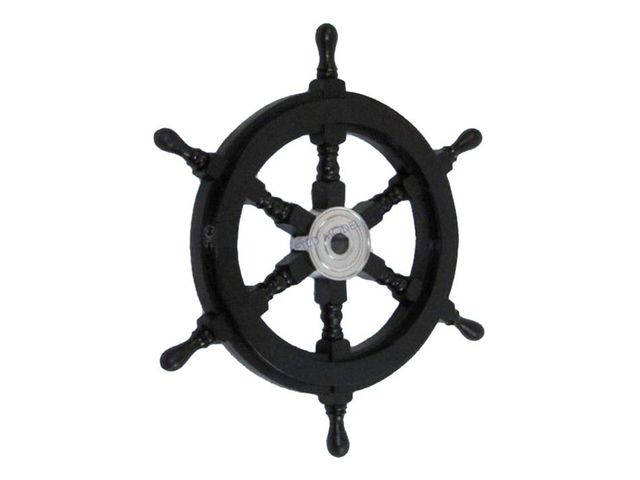 Deluxe Class Wood and Chrome Pirate Ship Steering Wheel 18