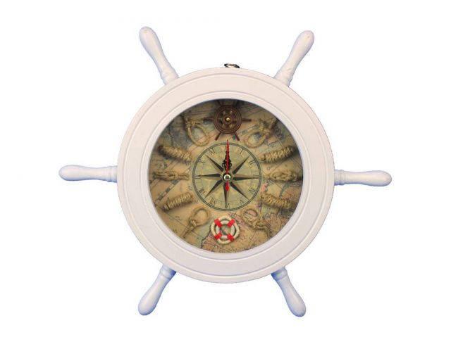 Wooden White Ship Wheel Knot Faced Clock 12