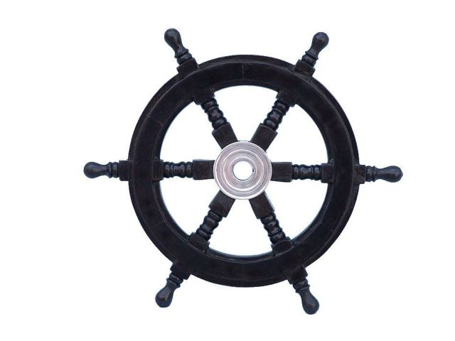 Deluxe Class Wood and Chrome Decorative Pirate Ship Steering Wheel 12