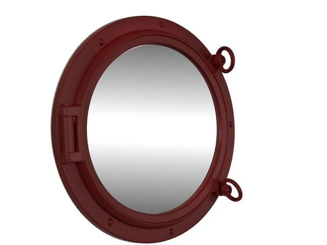 Dark Red Porthole Mirror 15