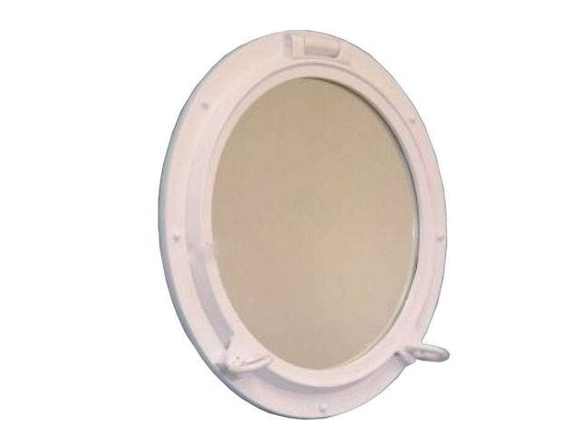 Gloss White Decorative Ship Porthole Mirror 24