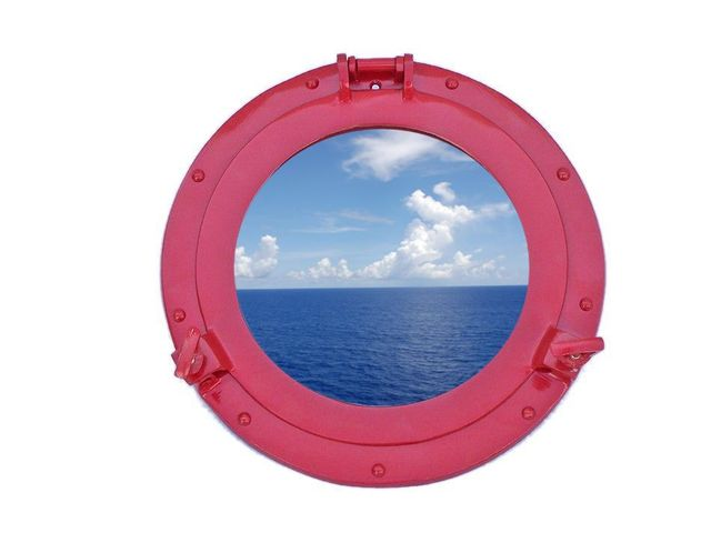 Brass Decorative Ship Porthole Window 12 - Dark Red