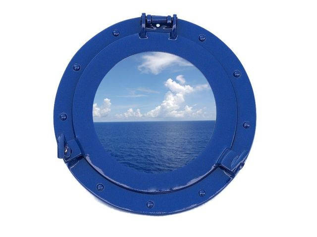 Brass Decorative Ship Porthole Window 12 - Dark Blue