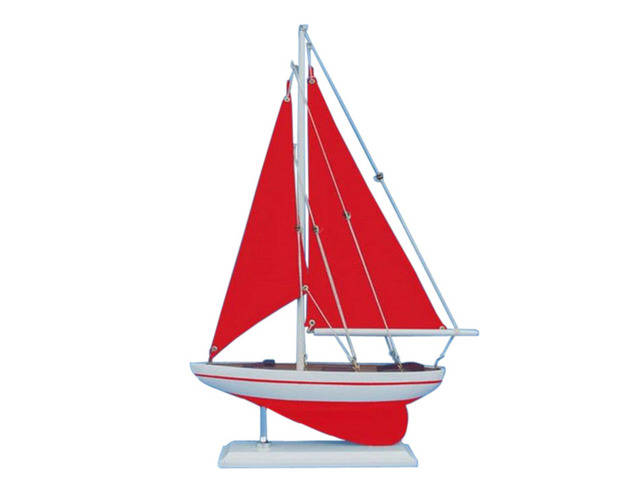 Wooden Red Pacific Sailer with Red Sails Model Sailboat Decoration 17