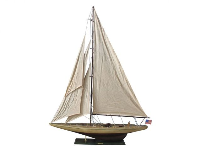 Wooden Rustic Ranger Model Sailboat Decoration 60
