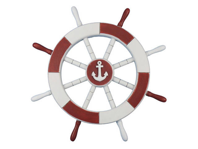 Red and White Decorative Ship Wheel with Anchor 18