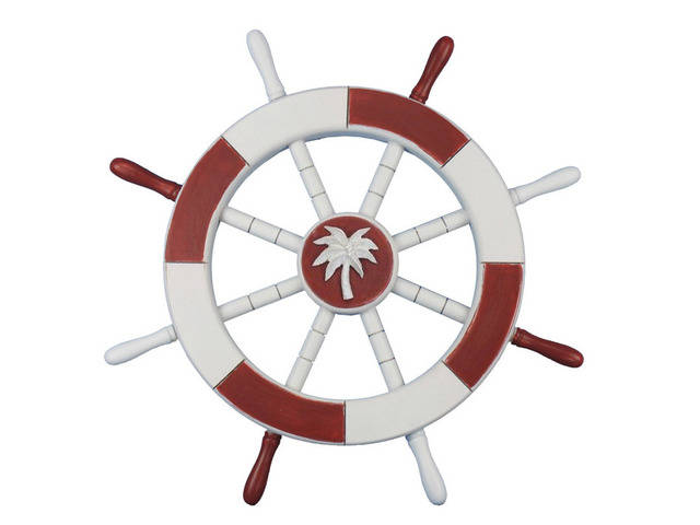 Red and White Decorative Ship Wheel with Palm Tree 18