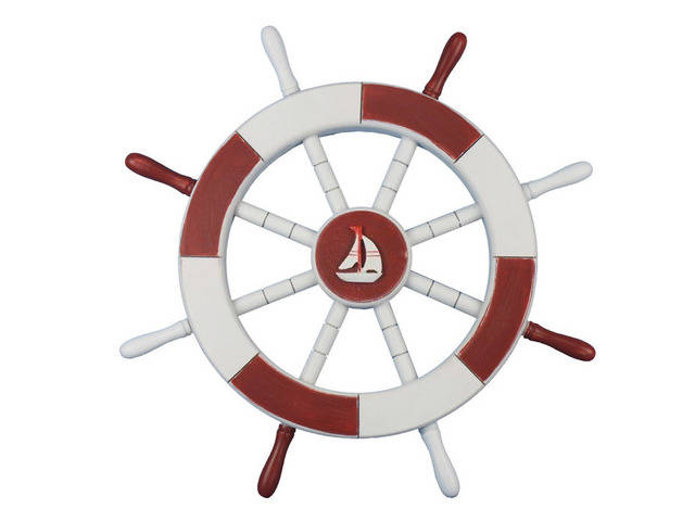 Red and White Decorative Ship Wheel with Sailboat 18