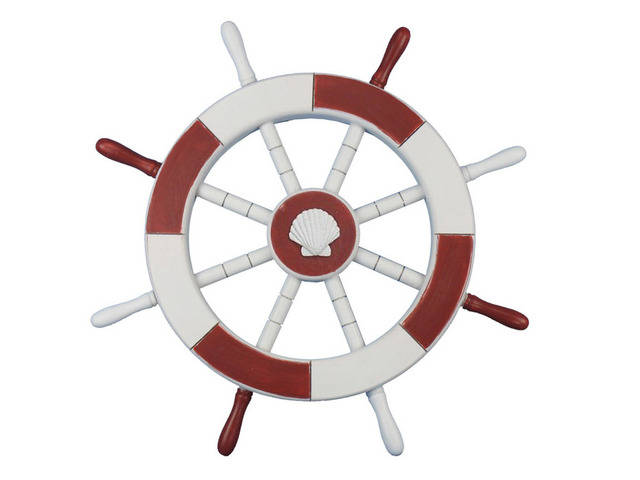 Red and White Decorative Ship Wheel with Seashell 18