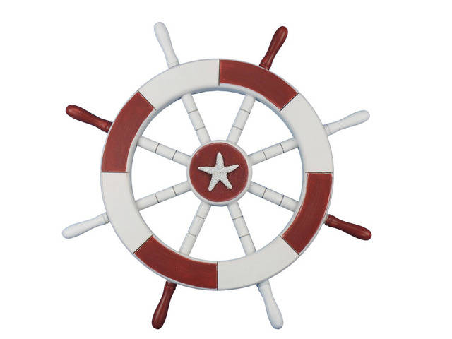 Red and White Decorative Ship Wheel with Starfish 18