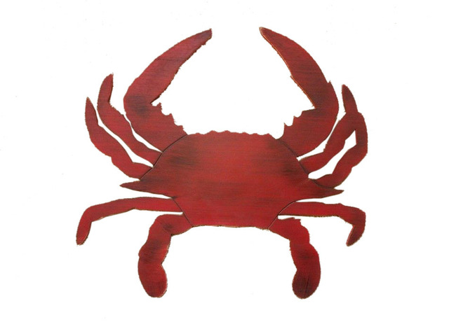 Wooden Rustic Red Wall Mounted Crab Decoration 32