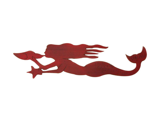 Wooden Rustic Red Wall Mounted Mermaid Decoration 44