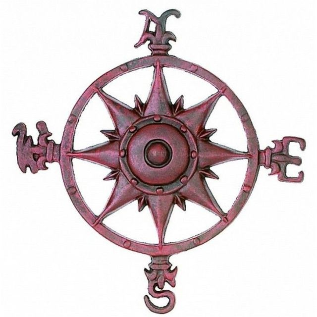 Antique Red Cast Iron Rose Compass 12