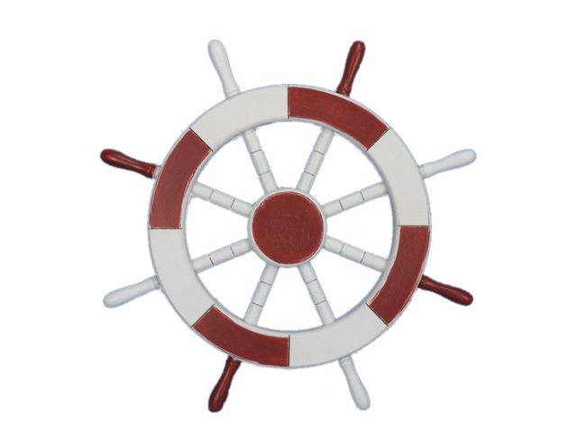 Red and White Decorative Ship Wheel 18