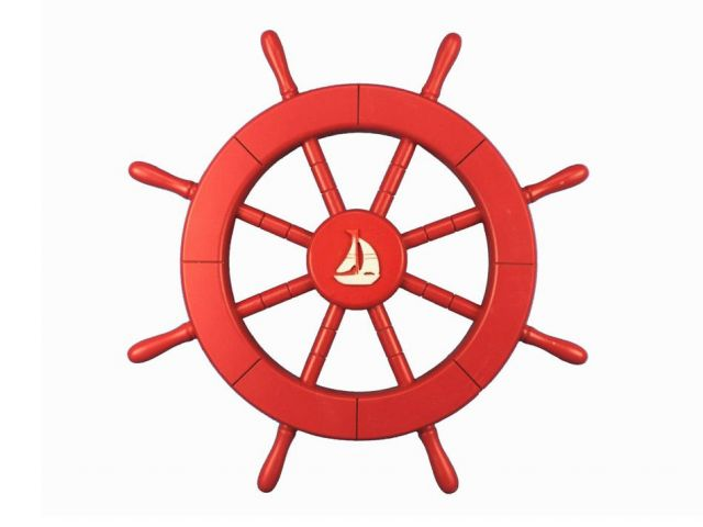 Red Ship Decorative Wheel with Sailboat 18