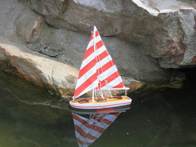 Wooden It Floats 21 - Rustic Red Striped Floating Sailboat Model