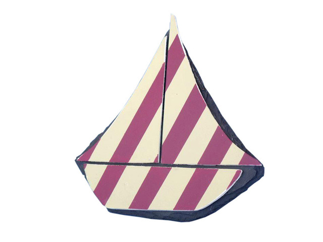 Tabletop Patriotic Red with White Stripes Sailboat 7
