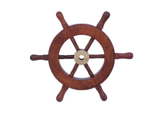 Deluxe Class Wood and Brass Decorative Ship Wheel 6