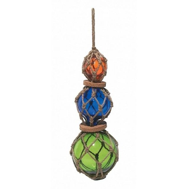 Amber- Blue - Green - Glass And Rope Float 12