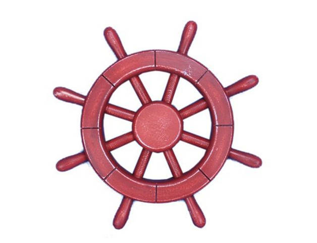 Rustic All Red Decorative Ship Wheel 12