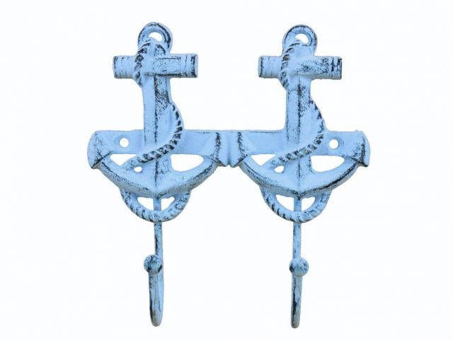 Rustic Dark Blue Whitewashed Cast Iron Decorative Anchor Hooks 7