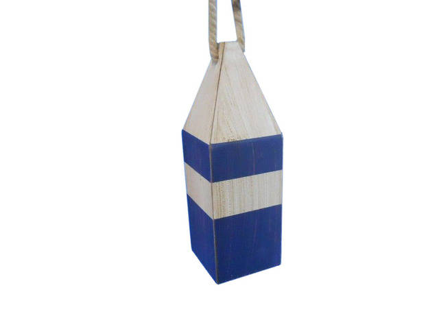 Wooden Rustic Dark Blue Chesapeake Bay Decorative Crab Trap Buoy 8