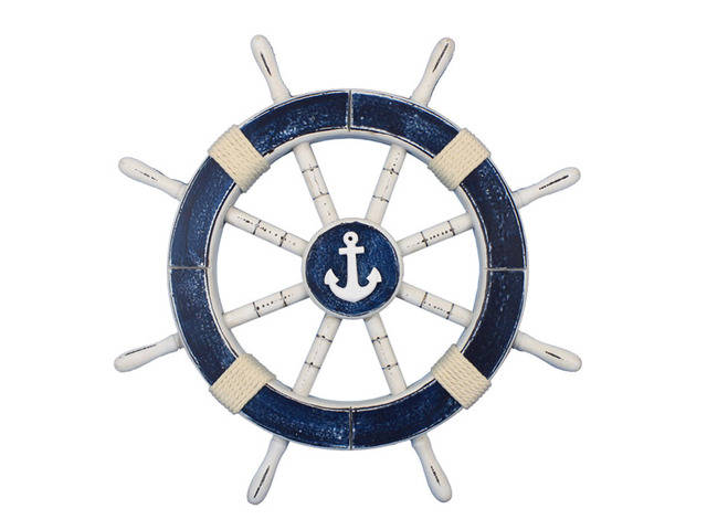 Rustic Dark Blue Decorative Ship Wheel with Anchor 18