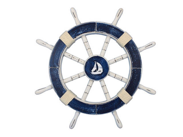 Rustic Dark Blue Decorative Ship Wheel with Sailboat 18