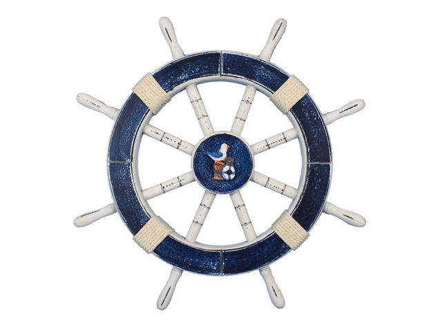 Rustic Dark Blue Decorative Ship Wheel with Seagull and Lifering 18