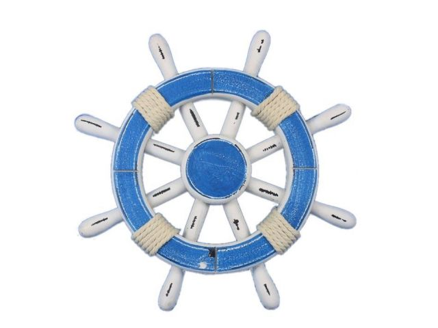 Rustic Light Blue and White Decorative Ship Wheel 12