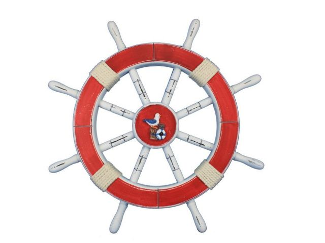 Rustic Red Decorative Ship Wheel with Seagull and Lifering 18