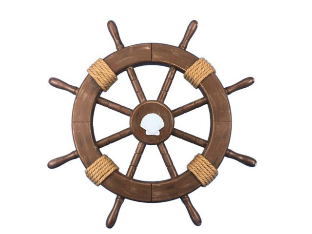 Rustic Wood Finish Decorative Ship Wheel with Seashell 18