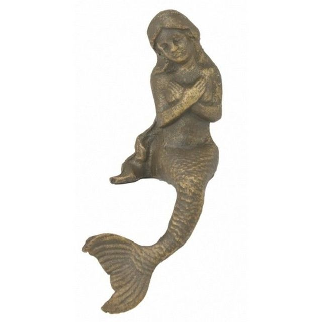 Rustic Cast Iron Sitting Mermaid 8