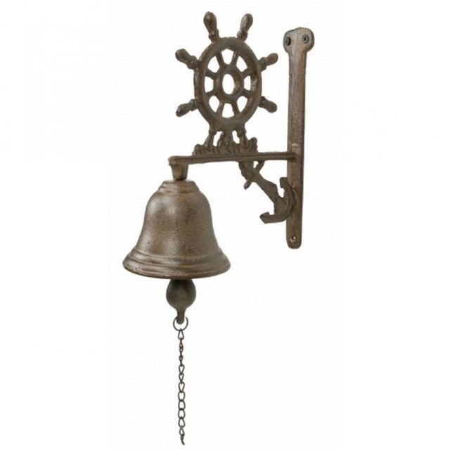 Rustic Cast Iron Ship Wheel and Anchor Bell 9