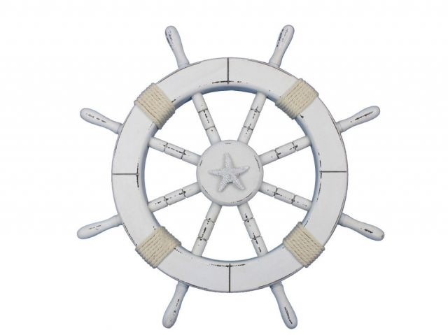 Rustic White Decorative Ship Wheel with Starfish 18