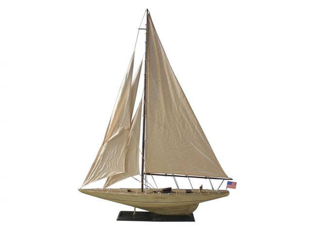 Wooden Rustic Intrepid Model Sailboat Decoration 60