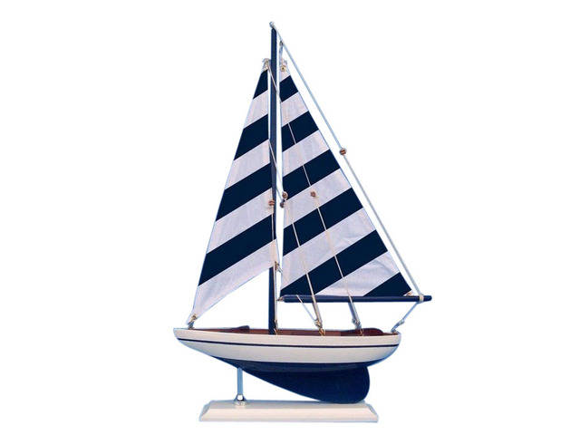 Wooden Blue Striped Pacific Sailer Model Sailboat Decoration 25