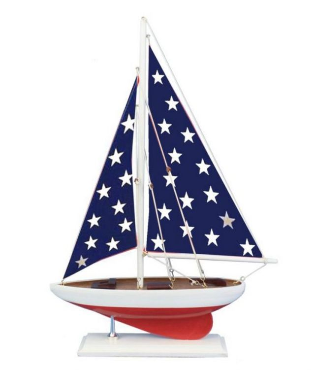 Wooden Patriotic Sailer Model Sailboat Decoration 25