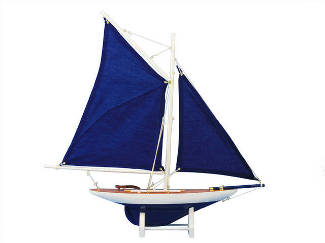 Wooden Americas Cup Contender Dark Blue Model Sailboat Decoration 18 - Blue Sails