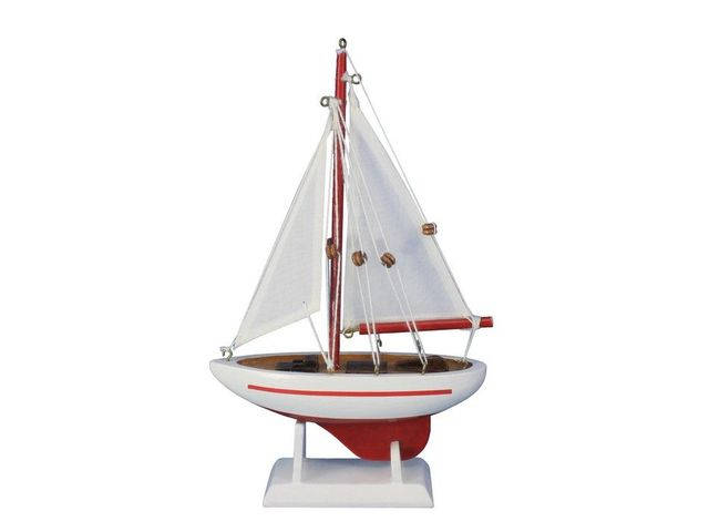 Wooden Red Pacific Sailer Model Sailboat Decoration 9