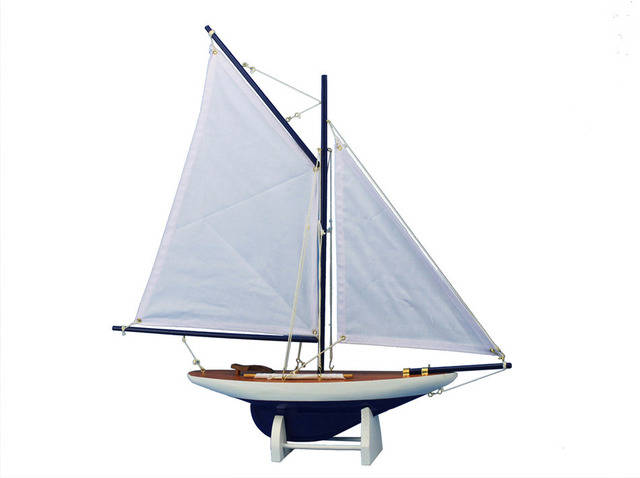 Wooden Americas Cup Contender Dark Blue Model Sailboat Decoration 18 - White Sails